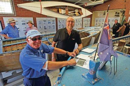 Maritime annexe volunteer Dave Austin and Mandurah Forum manager Nigel Haines.Picture: Jon Hewson d414368