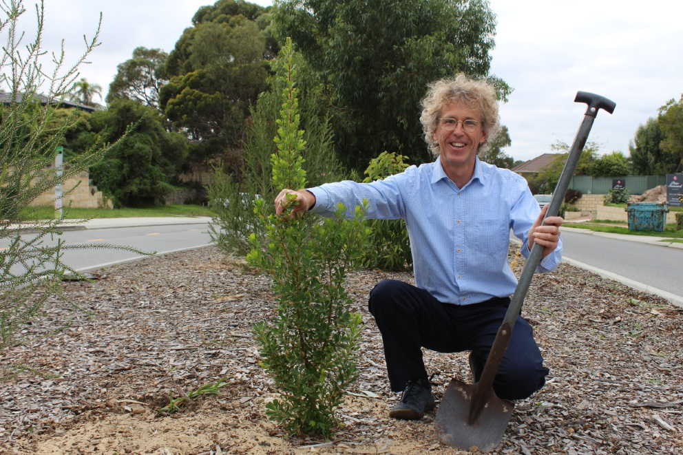 Wembley Downs resident Raoul Abrutat with some of the plants he grew on a median strip.
