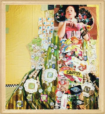 Adele Varris poses amongst collected rubbish for the Fig Group winning portrait RecycAdele'd.