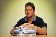 Paper trail: Stephen Tapper has been in a three-year battle for compensation. Picture: Jon Hewson d413831