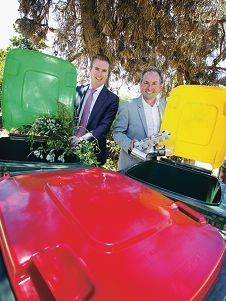 L-R: Minister Albert Jacob (Environment Minister) with Marcus Geisler (Chairman of the Waste Authority).  Three bin waste system option for councils.