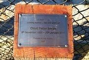 The memorial for grandfather Omri Peter Swan.