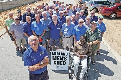David Savage (front) with members of the Midland Men's Shed. Picture: Bruce Hunt www.communitypix.com.au d413378