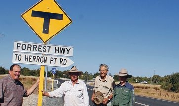 Murray Cowper with Eric, Ros and Jacob Walmsley at the proposed roadhouse site.