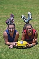 Swan Districts FC's Kara Donellan and Chelsea Randall.