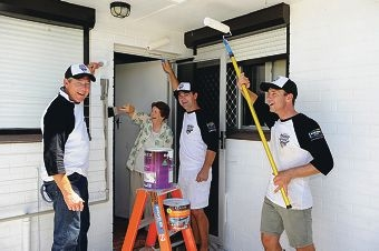 War widow Val Pattinson with, from left, Inspirations Paint purchase business manager Paul Michael, Inspirations Paint Morley store owner Anthony Kolinac and Adam Delsar from Berger Premium Paints. Picture: Marcus Whisson d413511
