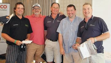 The winners of the Chamberlain Charity Golf Day: Tim Brereton, Terry McCorry, Ric Haddleton, Stuart Bennion and Dean Craddock.