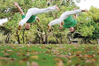 Capoeira instructors Glynn 'Lobo' Forsythe and Mickael 'Quebra' Lusson.