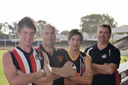 Jarrad McKercher, Darryl Carter, Sam Carter and Darren McKercher are excited about the newly-minted Hills Rangers Football Club.