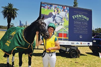 Olympic team silver medalist Sonja Johnson with her horse Ringwood Jaguar.