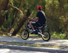 A resident's photo of a trail bike rider on Ferndale Crescent.