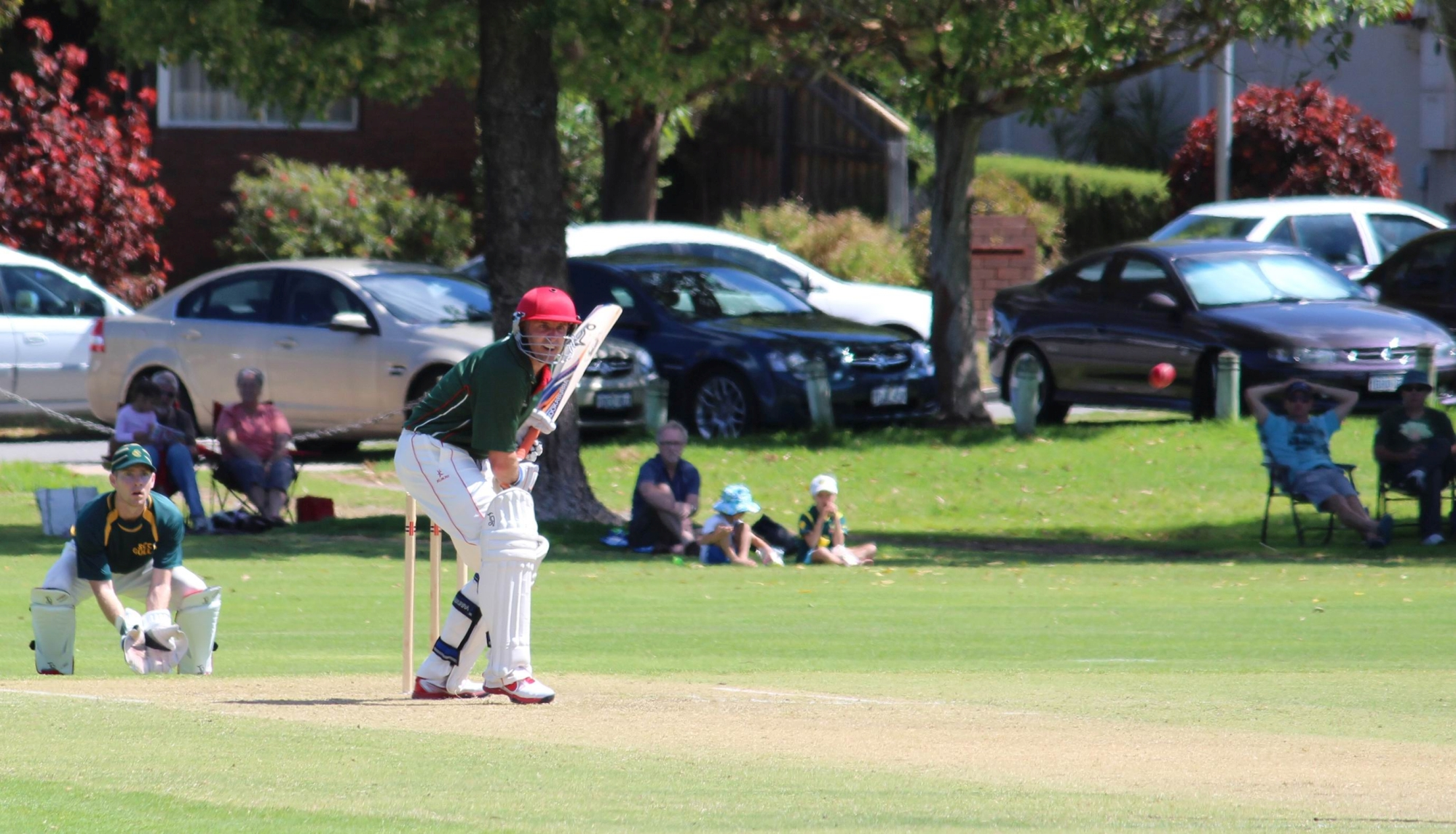 The unmistakeable figure of a concentrating Mike Hussey during his Twenty20 innings for Wanneroo at the weekend. Picture: Justin Bianchini.