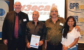 WA Regional Taxi Driver of the Year Graham Hoar (second from left) with Kevin Wigg and Tony and Yuni Palmer.