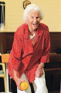 Ellen Powell is 104. Picture: Marcelo Palacios www.communitypix.com.au d411945