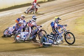 Gino Manzares leads the pack in the Woffinden Classic. Picture: Mark Hamersley