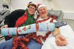 Nurse Rozanne Mills with donor Colin Hartnett.