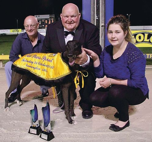 Trainer David Hobby with Sveta Monelli after the chaser won last month's All Stars Sprint. She is the fastest qualifier for The Shorts final on Friday night.