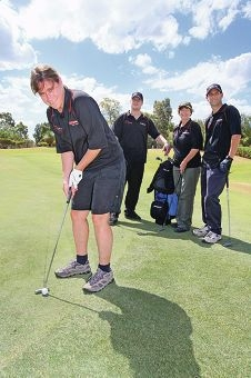 Chantelle, Brett, Sandra and Shane tee off ahead of the Charlie Gregorini Golf Classic. Picture: Bruce Hunt d411655