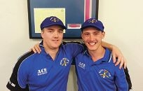 Muchea Tiger Snakes Brandon Ghirardi and Sam Pagan wearing their new baggy blues from the weekend.