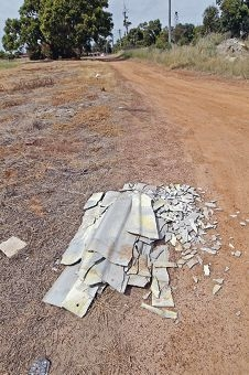 The asbestos dumped near Searle Street. Picture: Bruce Hunt