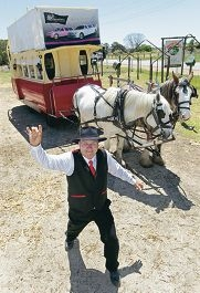 Ross Gundry has realised his vision of running horse drawn tram tours of the Swan Valley. Pictures: Bruce Hunt www.communitypix.com.au d410333