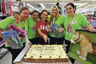 K-mart staff Tanya Meehan, Amanda Lee, Tanya Coulter, Christa Mader and Wendy