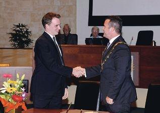 Joondalup Mayor Troy Pickard congratulates deputy Liam Gobbert.