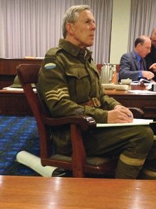Councillor Paul Bridges dressed in army attire at the council meeting where he aired his views. Picture: Belinda Cipriano