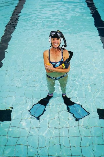 Jan Tyler is a midwife and member of a champion underwater hockey team. Picture: Andrew Ritchie d409034