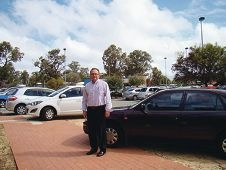 David Templeman at the Peel Health Campus carpark, which he described as abysmal.