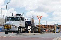 Truck reversing into Lakeside Joondalup shopping city.