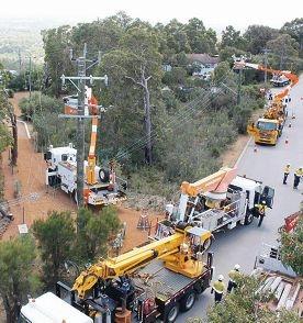 Western Power works on replacing wooden poles in Kalamunda.