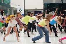 The flash mob performance at Lakeside Joondalup to promote World Mental Health Day.