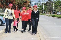 Walk this way... Cheryl-Lynn Magro, Merissa Tremeer and Kris Black, from The Parents Place, with Michelle McHarg, daughter Bella (2) and Rachel Shadrake, from Therapy Focus.
