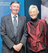 Diane Bennit displays her show jumping prowess in her heyday (left), and with WA Governor Malcolm McCusker at the opening night of the Royal Show.