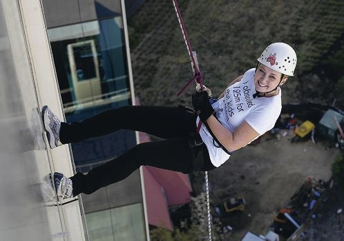 Jodie Priestly perfects her abseil form.