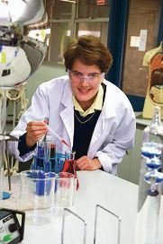 St Norbert College Year 12 student Clare Bradley in the school science lab.