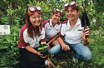 Occupational therapy students Cheryl Loo, Emily Higgins and Gina Rehm. Picture: Elle Borgward www.communitypix.com.au d407689