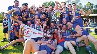 Gidgegannup players celebrate their Hills Football Association premiership. Picture: Eye on the Hills.com