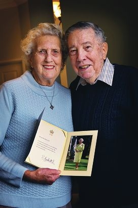Audrey and Ken Duperouzel of Canning Vale, who will celebrate their 60th anniversary on September 14, 2013.  Seen here with their letter from the Queen.