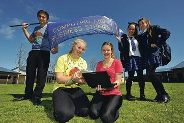 Students Sam Delaney, Kate Willers, Hayley Wrigley, Courtney Cummins and Sherie Purcell. Picture: Jon Hewsonwww.communitypix.com.au d407037