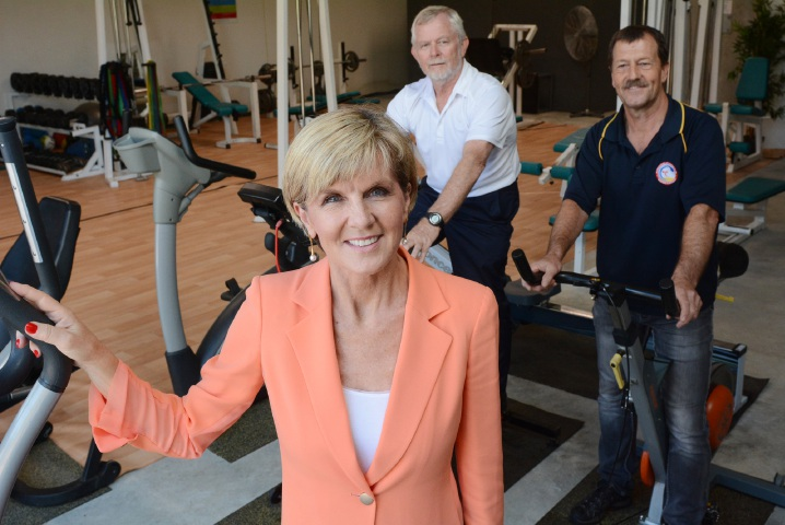Julie Bishop got to inspect the shed with Floreat Surf Life Saving Club director John King and club president Albert Iten. Picture: Jon Bassett.