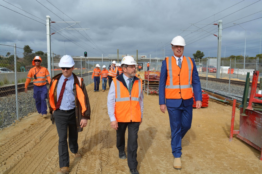 Transport Minister Dean Nalder (far right) during a site visit of the Aubin Grove Train Station.