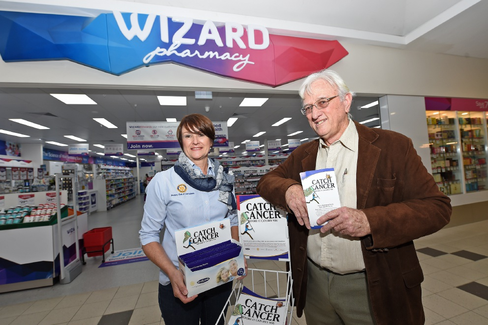 Rotary Club Armadale's Eileen Alford and bowel cancer survivor Vince Roberts. Picture: Jon Hewson d454019