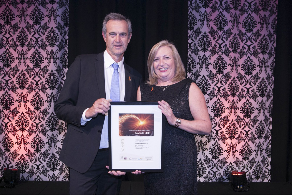 Local Government Minister Tony Simpson and CommunityWest chief executive Michelle Jenkins. Communitywest won a services excellence award.
