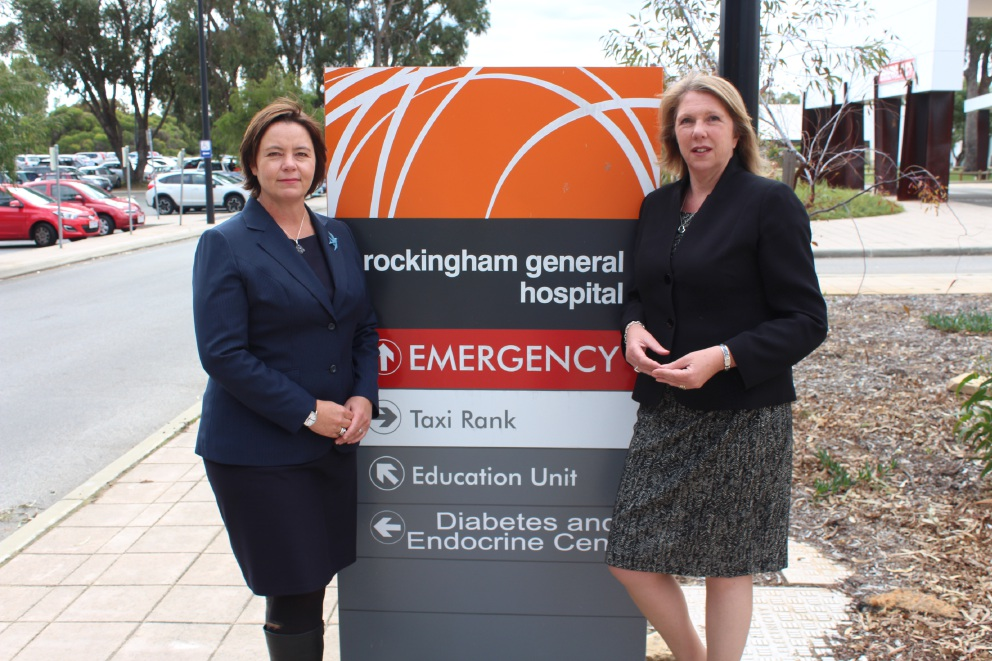 Brand Labor candidate Madeleine King with Labor MP Catherine King at the Rockingham General Hospital.