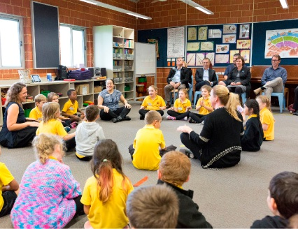Year 2s from North Parmelia during a free music lesson.