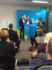 State Disability Services Minister Donna Faragher with Federal Social Services Minister Christian Porter.