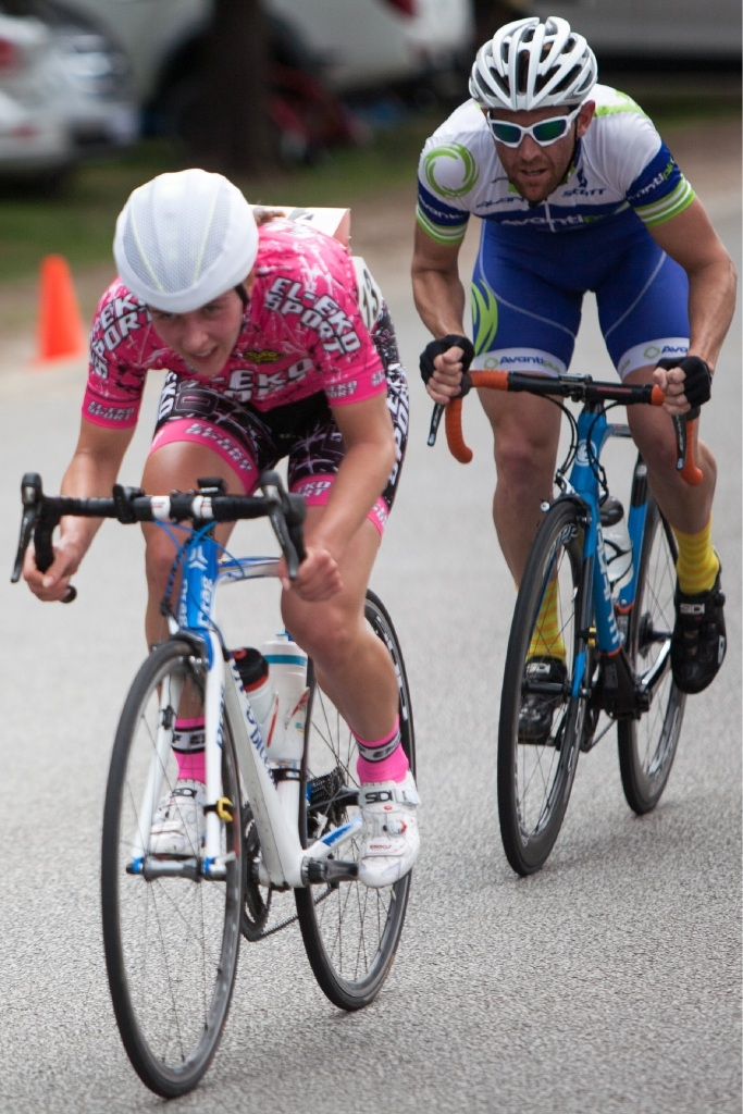 A focused Dakota Ramos finishes third in the junior race. Picture: Nick Cowie