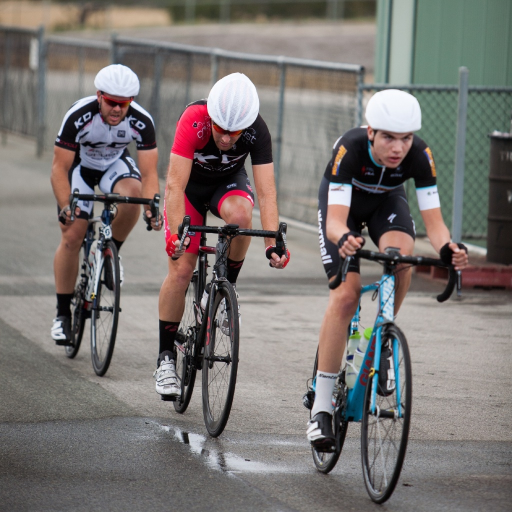 Conor Leahy leading the breakaway in A grade action.  Pictures: Nick Cowie
